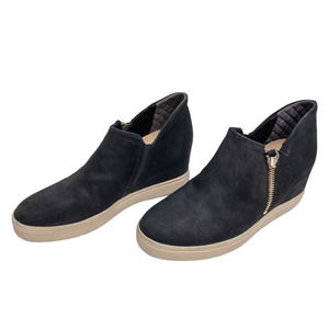 DR SCHOLL'S Black Scout Zip Wedge Ankle Bootie 7.5